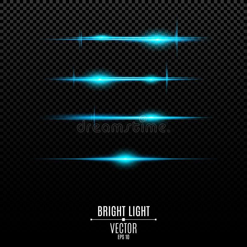 Αφηρημένα μπλε φω'τα σε ένα διαφανές υπόβαθρο Φωτεινά λάμψεις και έντονο φως του μπλε Η επίδραση της κάμερας Ελαφριά δόνηση Glo διανυσματική απεικόνιση