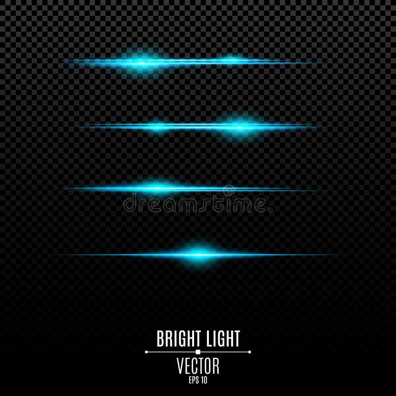 Αφηρημένα μπλε φω'τα σε ένα διαφανές υπόβαθρο Φωτεινά λάμψεις και έντονο φως του μπλε Η επίδραση της κάμερας Φωτεινές ακτίνες του διανυσματική απεικόνιση