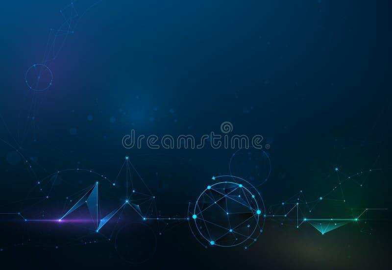 Αφηρημένα μόρια απεικόνισης με τους κύκλους, γραμμές, γεωμετρικές, πολύγωνο, σχέδιο τριγώνων ελεύθερη απεικόνιση δικαιώματος