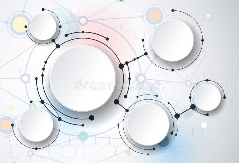 Αφηρημένα μόρια και τρισδιάστατο έγγραφο, ενσωματωμένοι κύκλοι ελεύθερη απεικόνιση δικαιώματος