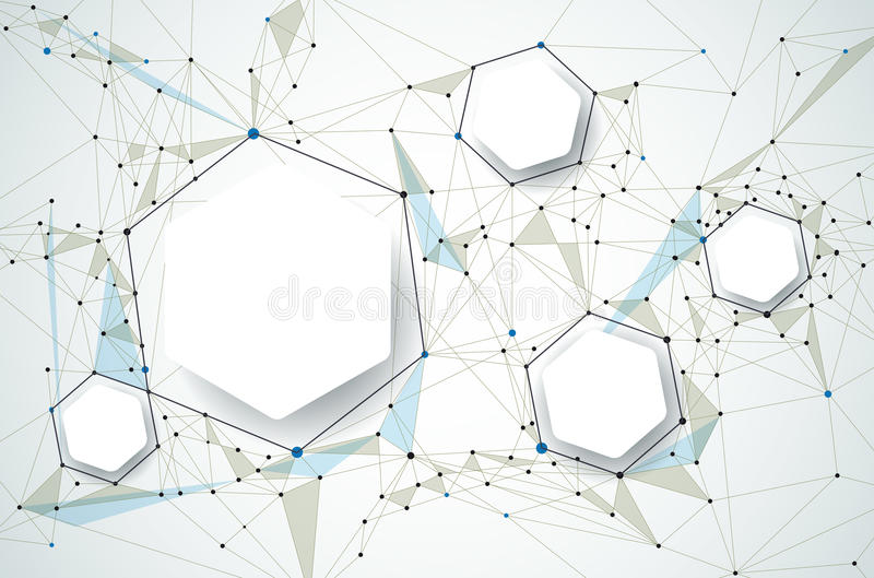 Αφηρημένα μόρια με το τρισδιάστατο έγγραφο και Polygonal στο ανοικτό γκρι υπόβαθρο χρώματος διανυσματική απεικόνιση
