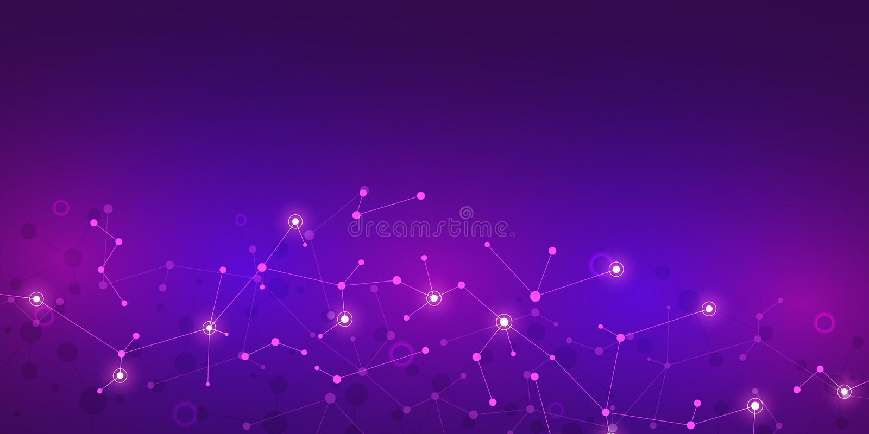 Αφηρημένα μόρια στο πορφυρό υπόβαθρο Μοριακές δομές ή σκέλος DNA, νευρικό δίκτυο, γενετική εφαρμοσμένη μηχανική απεικόνιση αποθεμάτων