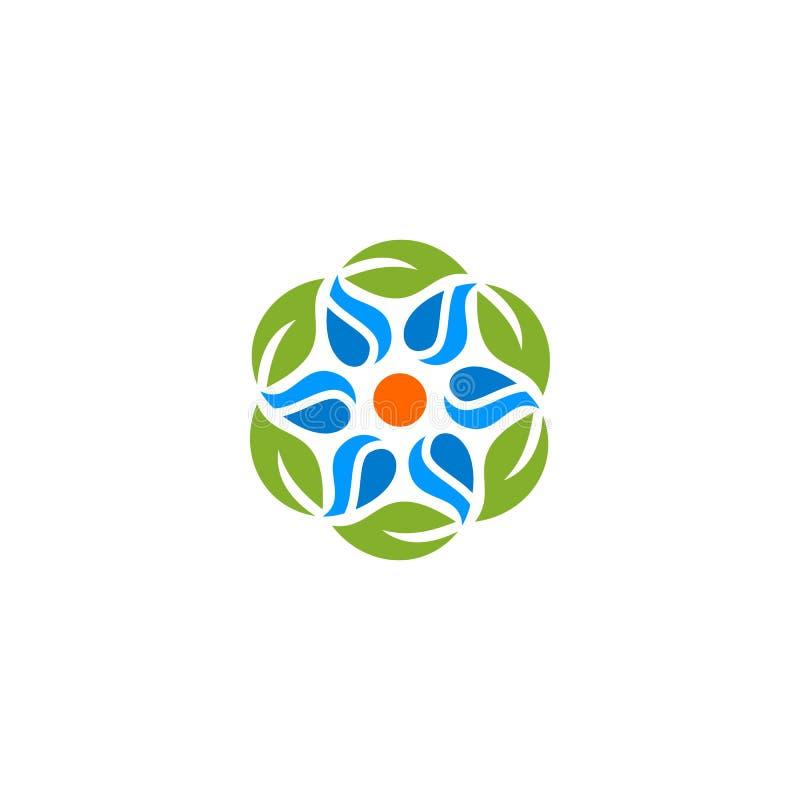 Αφηρημένα νερό φύλλων φύσης και λογότυπο ήλιων διανυσματική απεικόνιση