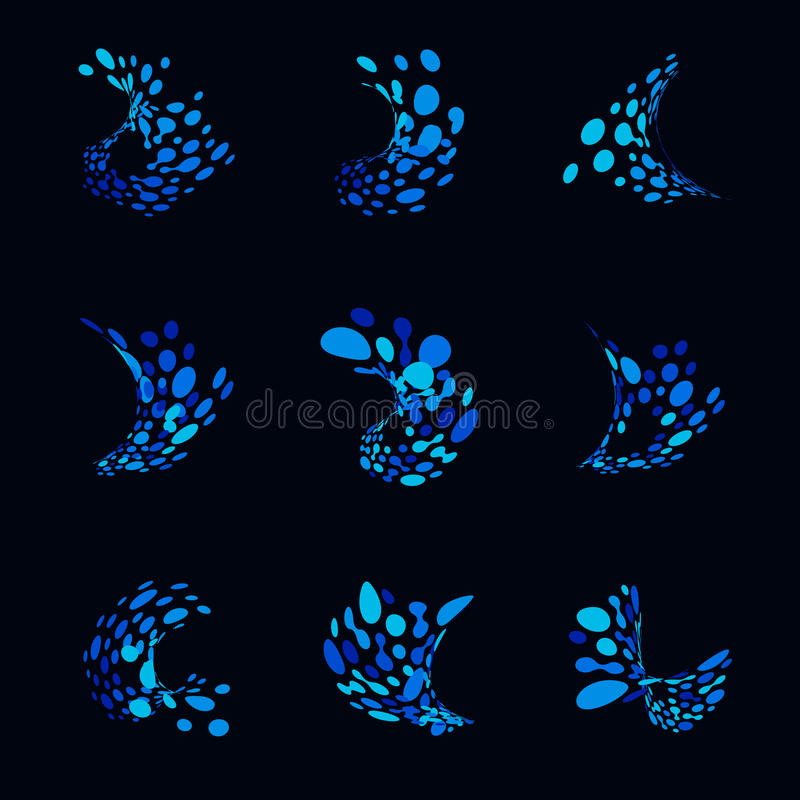 Αφηρημένα λογότυπα από τα σημεία υπό μορφή ωκεάνιου κύματος Σύνολο μπλε εικονιδίων από τα διαστρεβλωμένα σημεία Υγρό διάνυσμα παφ ελεύθερη απεικόνιση δικαιώματος