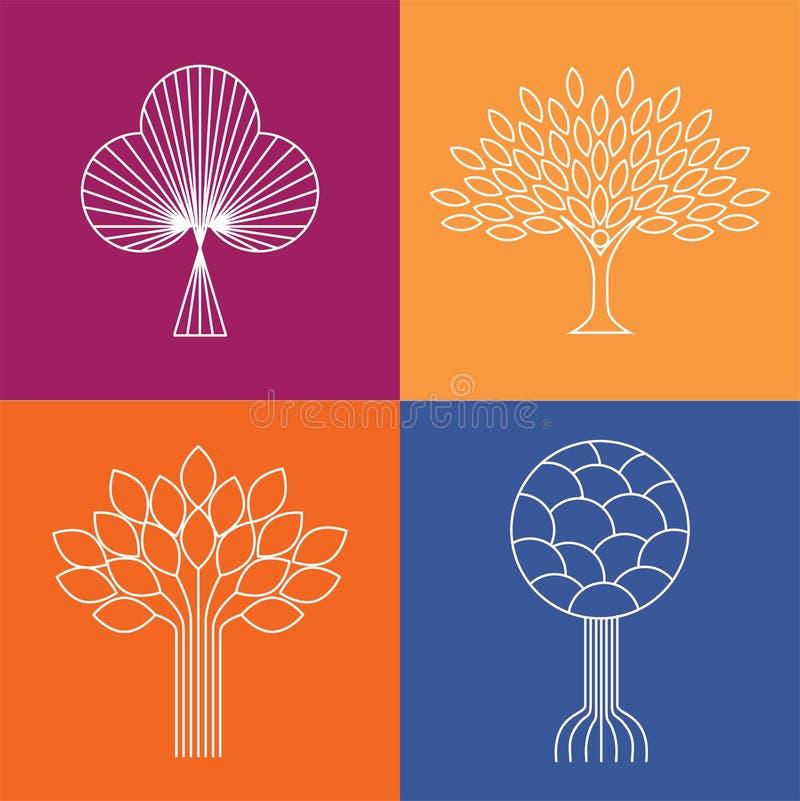 Αφηρημένα οργανικά διανύσματα λογότυπων εικονιδίων γραμμών δέντρων - eco & βιο σχέδιο απεικόνιση αποθεμάτων