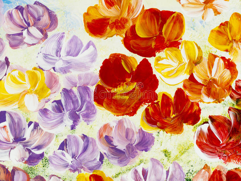 Αφηρημένα λουλούδια, δημιουργικό χρωματισμένο χέρι υπόβαθρο ελεύθερη απεικόνιση δικαιώματος