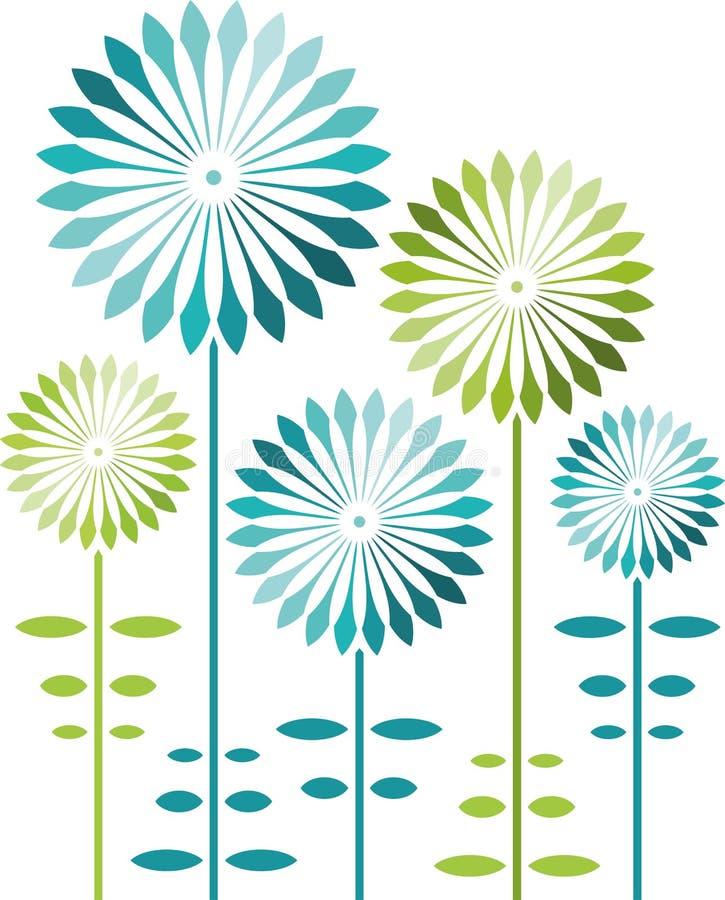 Αφηρημένα λουλούδια, μπλε και πράσινος στο διάνυσμα διανυσματική απεικόνιση
