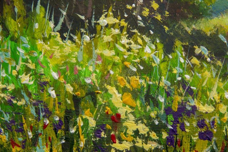 Αφηρημένα πολύχρωμα θερινά λουλούδια Ξέφωτο των λουλουδιών άνοιξη Διευρυμένο τεμάχιο της εικόνας Expressionism με ακρυλικό Natur απεικόνιση αποθεμάτων