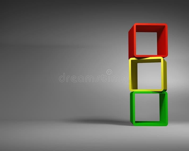 Αφηρημένα πλαίσια ορθογωνίων Varicolored που στέκονται στο γκρίζο δωμάτιο απεικόνιση αποθεμάτων