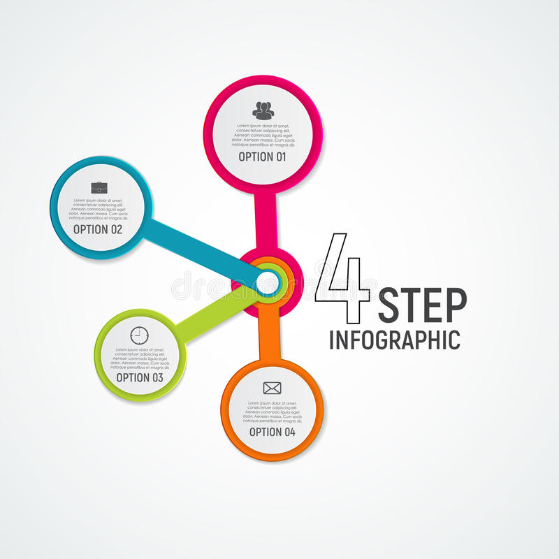 Αφηρημένα στοιχεία της γραφικής παράστασης, διάγραμμα με 4 βήματα, επιλογές Busin απεικόνιση αποθεμάτων