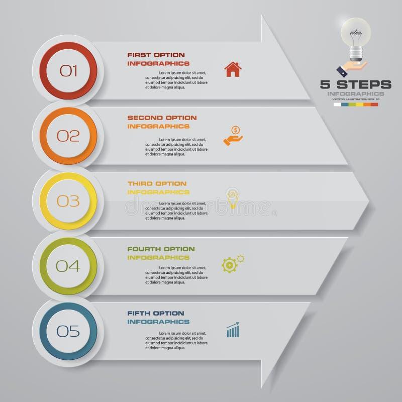 Αφηρημένα 5 στοιχεία infographics βελών βημάτων επίσης corel σύρετε το διάνυσμα απεικόνισης E ελεύθερη απεικόνιση δικαιώματος