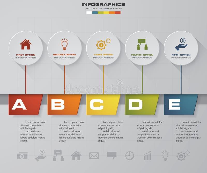 Αφηρημένα 5 στοιχεία infographics βημάτων επίσης corel σύρετε το διάνυσμα απεικόνισης E ελεύθερη απεικόνιση δικαιώματος