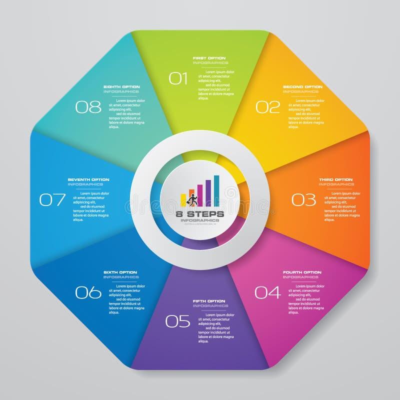 Αφηρημένα 8 στοιχεία infographics διαγραμμάτων κύκλων βημάτων διανυσματική απεικόνιση