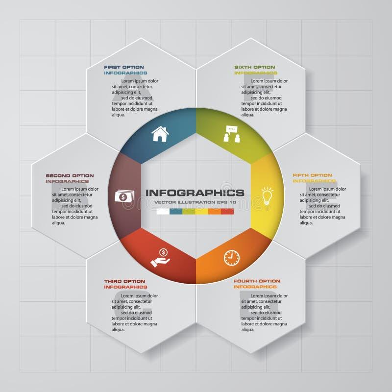Αφηρημένα 6 στοιχεία infographis βημάτων επίσης corel σύρετε το διάνυσμα απεικόνισης διανυσματική απεικόνιση