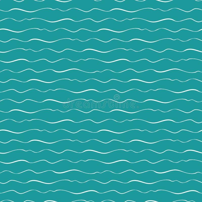 Αφηρημένα συρμένα χέρι doodle κύματα θάλασσας με το ποικίλο πάχος Άνευ ραφής γεωμετρικό διανυσματικό σχέδιο στο ωκεάνιο μπλε υπόβ διανυσματική απεικόνιση