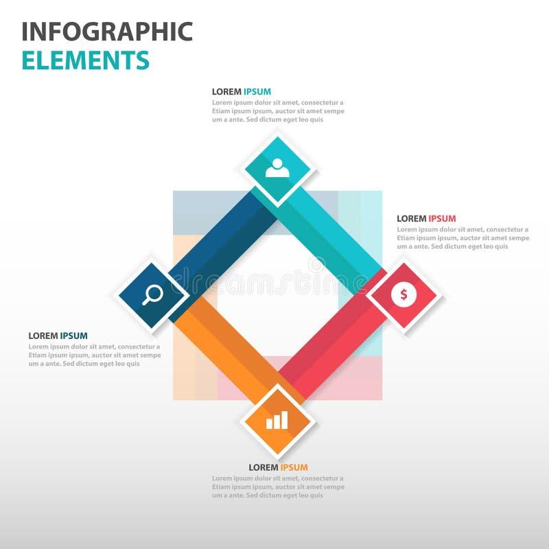Αφηρημένα 4 τετραγωνικά στοιχεία επιχειρησιακού Infographics, παρουσίασης διανυσματική απεικόνιση σχεδίου προτύπων επίπεδη για το διανυσματική απεικόνιση