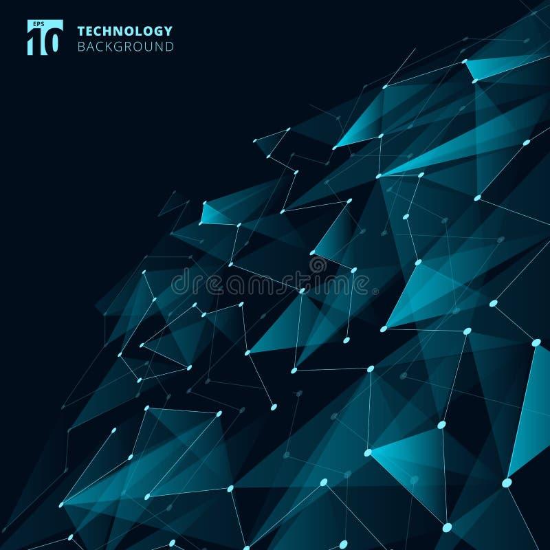 Αφηρημένα τρίγωνα χρώματος τεχνολογίας μπλε και χαμηλό πολύγωνο με το λι διανυσματική απεικόνιση