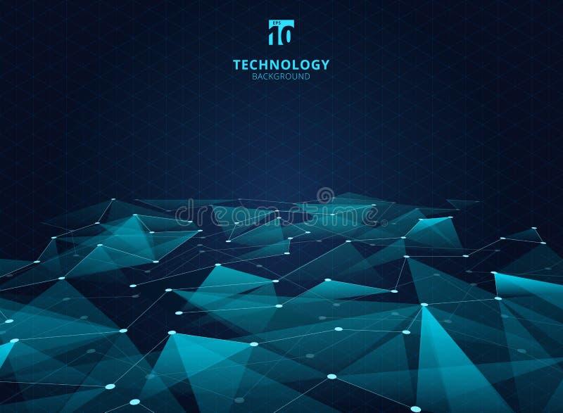 Αφηρημένα τρίγωνα χρώματος τεχνολογίας μπλε και χαμηλό πολύγωνο με το λι απεικόνιση αποθεμάτων