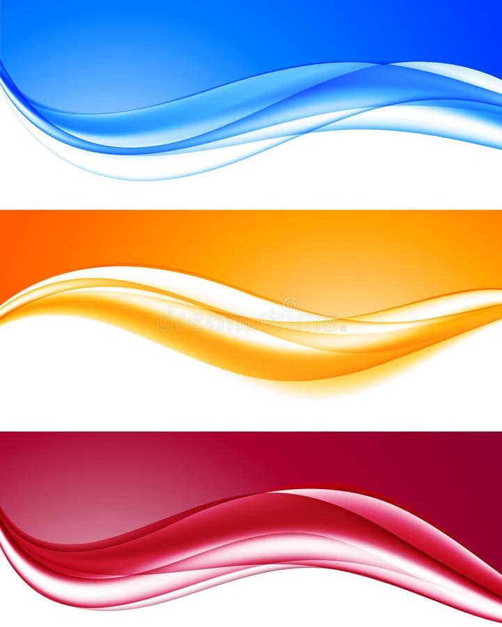 Αφηρημένα δυναμικά ζωηρόχρωμα κυματιστά υπόβαθρα καθορισμένα απεικόνιση αποθεμάτων