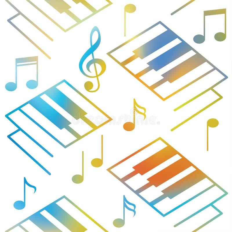 Αφηρημένα υπόβαθρα μουσικής Κλειδιά πιάνων και μουσικές νότες πρότυπο άνευ ραφής διανυσματική απεικόνιση