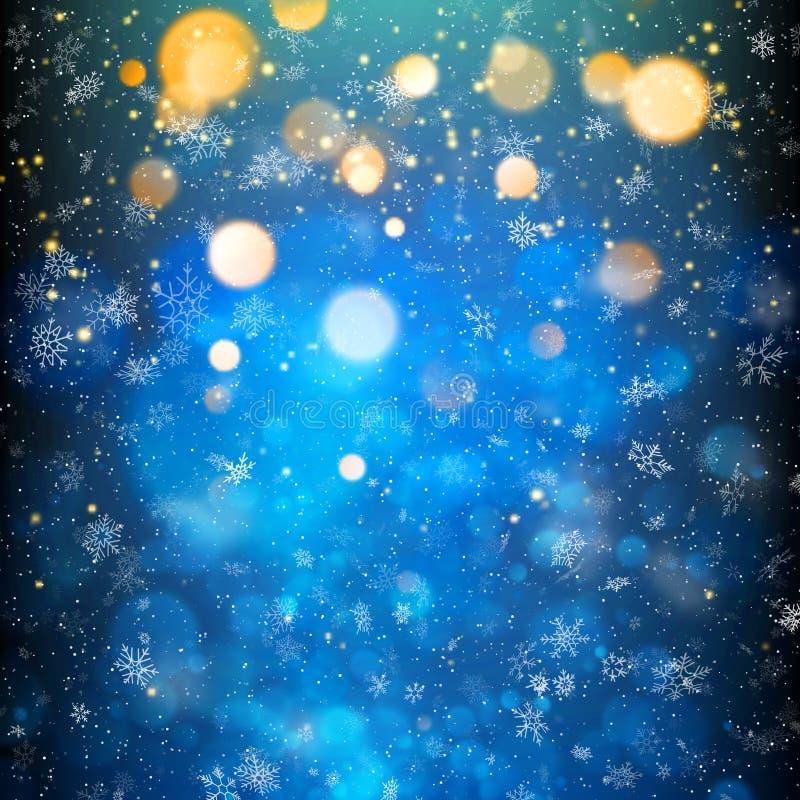 Αφηρημένα φωτεινά θερμά shimmer φω'τα και snowflakes Διασπορά που μειώνεται γύρω από το φως μορίων 10 eps ελεύθερη απεικόνιση δικαιώματος