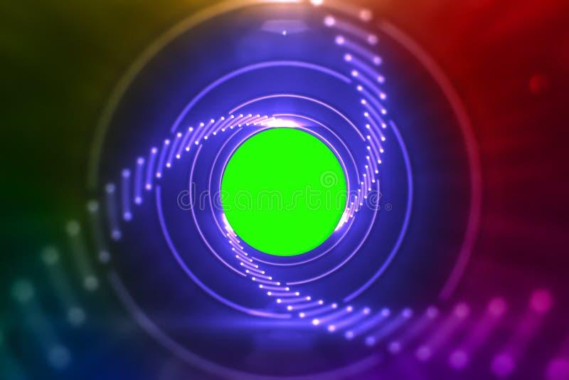 Αφηρημένα φω'τα πυράκτωσης λέιζερ που περιστρέφονται στους ομόκεντρους κύκλους, rainb στοκ εικόνα με δικαίωμα ελεύθερης χρήσης