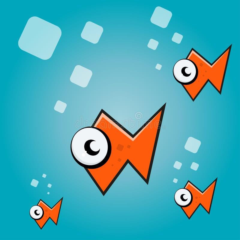 Αφηρημένα ψάρια κινούμενων σχεδίων διανυσματική απεικόνιση