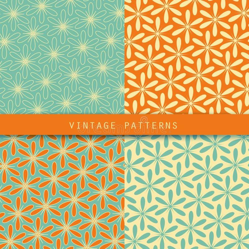 Αφηρημένα floral αναδρομικά σχέδια καθορισμένα Εκλεκτής ποιότητας χρώμα ύφους Μπορέστε να χρησιμοποιηθείτε για το σχέδιο καρτών,  απεικόνιση αποθεμάτων