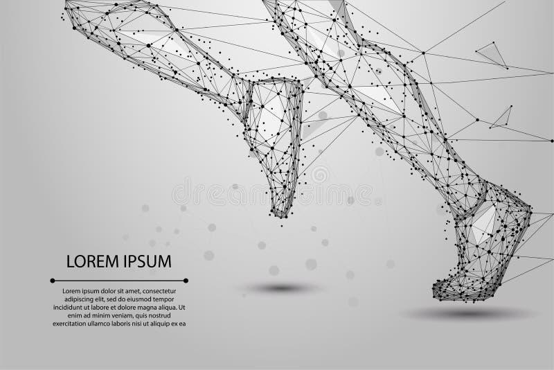 Αφηρημένα polygonal τρέχοντας πόδια από τις γραμμές, τα τρίγωνα και το μόριο Χαμηλό πολυ διάνυσμα wireframe ελεύθερη απεικόνιση δικαιώματος