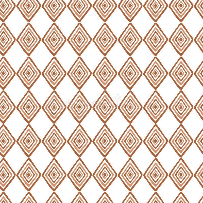 Αφηρημένες άνευ ραφής εθνικές συστάσεις σχεδίων στα ανοικτό καφέ χρώματα με το ρόμβο διανυσματική απεικόνιση
