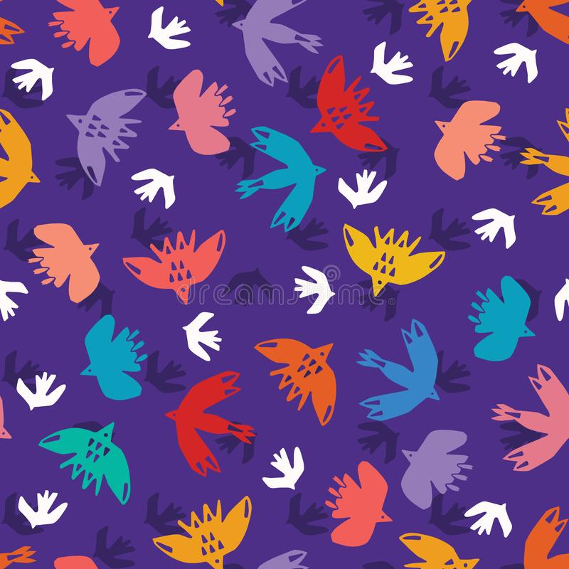 Αφηρημένες αποκόπτως σύννεφο μορφές πουλιών Διανυσματικό άνευ ραφής υπόβαθρο σχεδίων Συρμένη χέρι matisse γραφική απεικόνιση κολά απεικόνιση αποθεμάτων