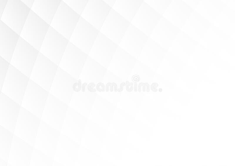 Αφηρημένες γκρίζες τετραγωνικές μορφές κλίσης στο άσπρο υπόβαθρο με το μαλακό διάστημα φωτός και αντιγράφων απεικόνιση αποθεμάτων