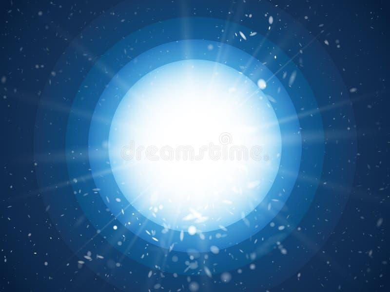 Αφηρημένες ελαφριές ακτίνες και σκόνη στο μπλε υπόβαθρο κύκλων διανυσματική απεικόνιση