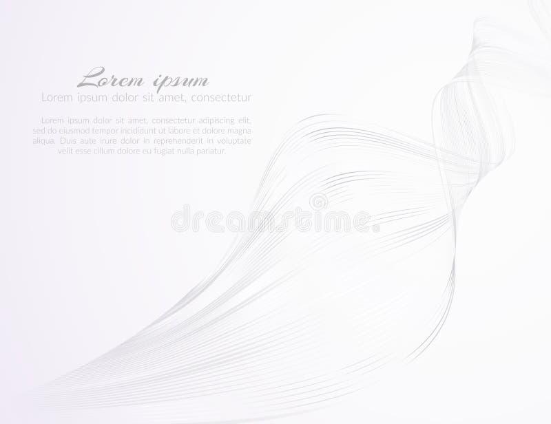 Αφηρημένες ελαφριές όμορφες κυματιστές γραμμές σε ένα άσπρο σχέδιο υποβάθρου από τις γραμμές κυμάτων για το σχέδιο της διαφήμισης διανυσματική απεικόνιση