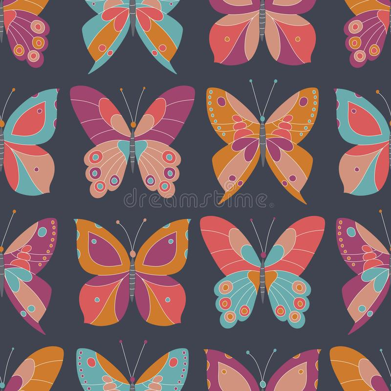Αφηρημένες ζωηρόχρωμες πεταλούδες στο σκοτεινό γκρίζο διανυσματικό άνευ ραφής σχέδιο υποβάθρου Τολμηρή και φωτεινή κομψή σύσταση  απεικόνιση αποθεμάτων