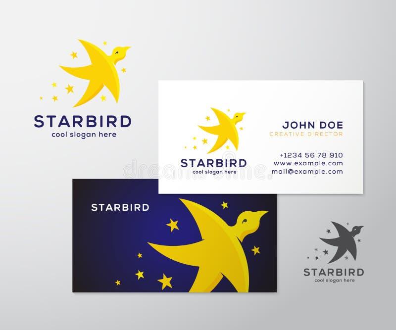 Αφηρημένες διανυσματικές λογότυπο και επαγγελματική κάρτα πουλιών αστεριών ελεύθερη απεικόνιση δικαιώματος