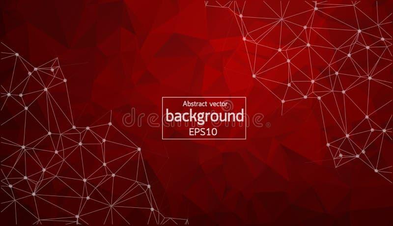 Αφηρημένες κόκκινες γεωμετρικές Polygonal μόριο και επικοινωνία υποβάθρου Συνδεδεμένες γραμμές με τα σημεία Έννοια της επιστήμης, απεικόνιση αποθεμάτων