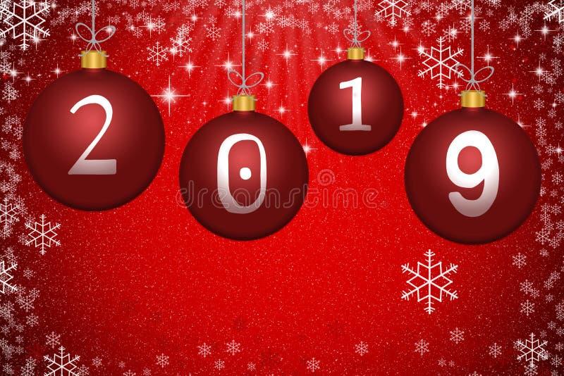 Αφηρημένες κόκκινες σφαίρες Χριστουγέννων με τον αριθμό 2019, τα αστέρια και το snowfla ελεύθερη απεικόνιση δικαιώματος