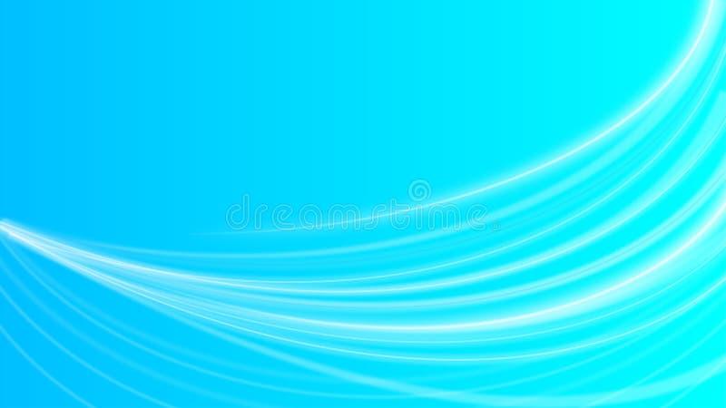 Αφηρημένες λαμπρές άσπρες καμπύλες ή ελαφριές ακτίνες στο μπλε υπόβαθρο Gradated ελεύθερη απεικόνιση δικαιώματος