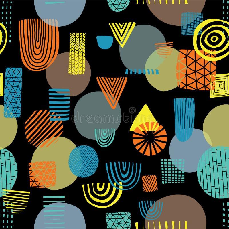 Αφηρημένες μορφές στο μαύρο άνευ ραφής διανυσματικό σχέδιο υποβάθρου Τρίγωνα, κύκλοι, ορθογώνια, μισό πορτοκάλι κύκλων, κίτρινος, ελεύθερη απεικόνιση δικαιώματος