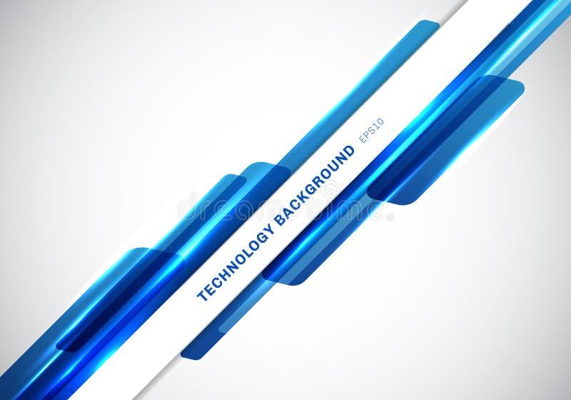 Αφηρημένες μπλε λαμπρές γεωμετρικές μορφές επιγραφών που επικαλύπτουν την κινούμενη παρουσίαση ύφους τεχνολογίας φουτουριστική γι διανυσματική απεικόνιση
