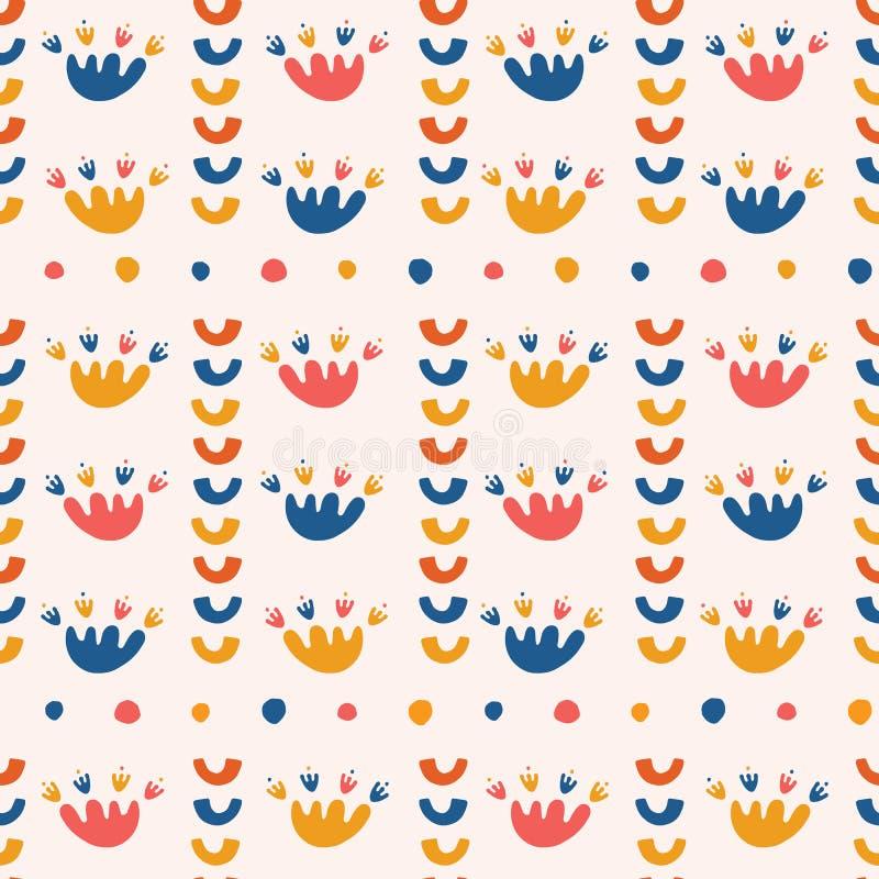 Αφηρημένες οργανικές αποκόπτως μορφές Διανυσματικό άνευ ραφής υπόβαθρο σχεδίων Τέμνον ύφος λωρίδων λουλουδιών εγγράφου χεριών mat ελεύθερη απεικόνιση δικαιώματος
