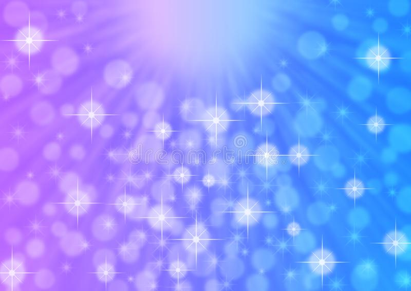 Αφηρημένες φωτεινές ελαφριές ακτίνες, σπινθηρίσματα και Bokeh στο μπλε και ιώδες υπόβαθρο διανυσματική απεικόνιση