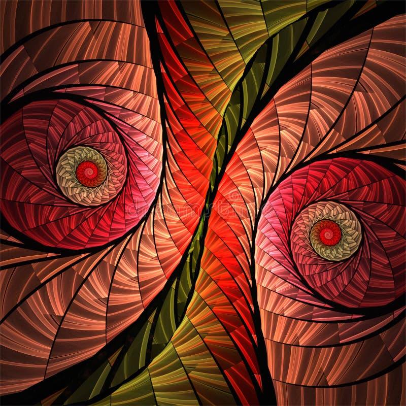 Αφηρημένες ψηφιακές fractal κόκκινες σπείρες μωσαϊκών τέχνης διακοσμητικές διανυσματική απεικόνιση