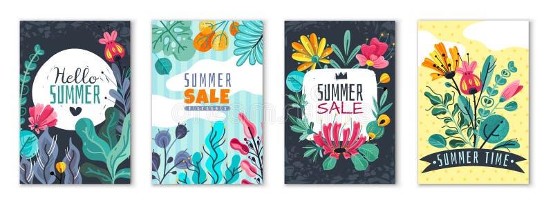 Αφηρημένες floral αφίσες Το φυλλάδιο ιπτάμενων πρόσκλησης καρτών κάλυψης εμβλημάτων κήπων θερινών λουλουδιών άνοιξης ανθίζει την  διανυσματική απεικόνιση
