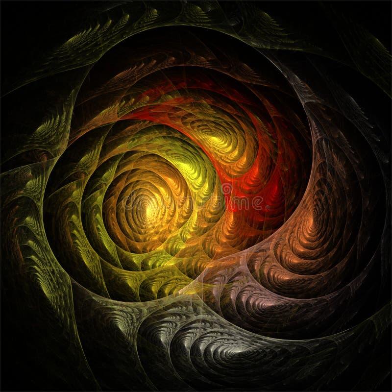 Αφηρημένες fractal κόκκινες και κίτρινες fantasic τρισδιάστατες σπείρες τέχνης διανυσματική απεικόνιση