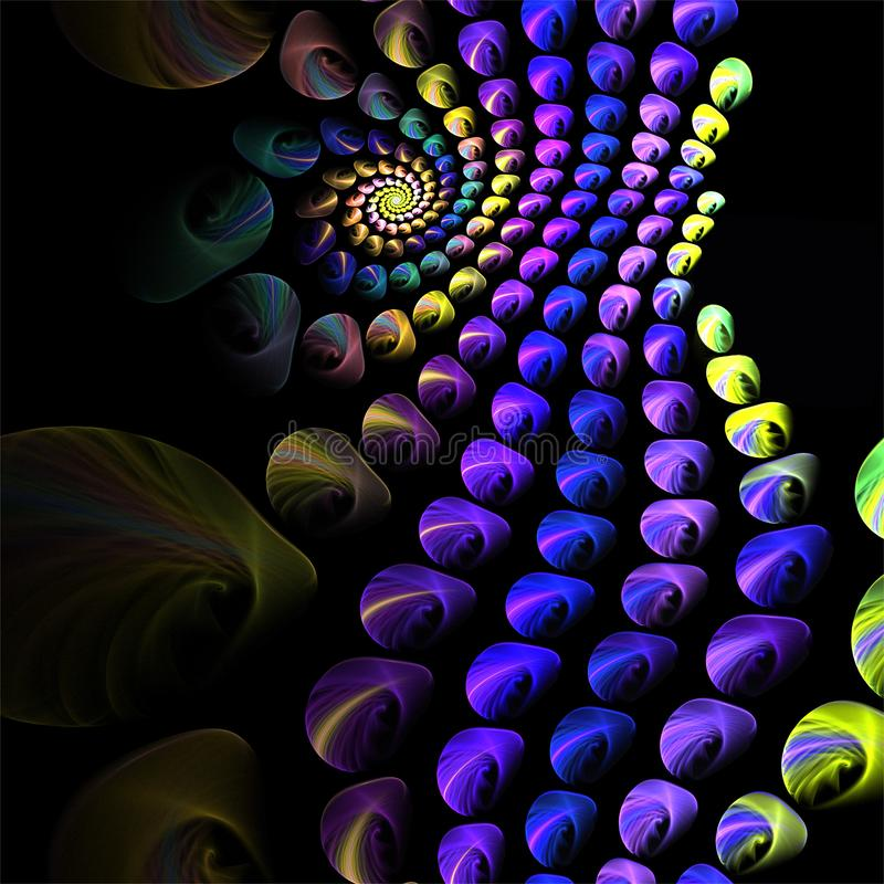 Αφηρημένες fractal μπλε μικρές σφαίρες τέχνης με την κίτρινη σπείρα απεικόνιση αποθεμάτων