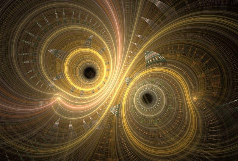Αφηρημένες fractal σπείρες στο σκοτεινό υπόβαθρο απεικόνιση αποθεμάτων