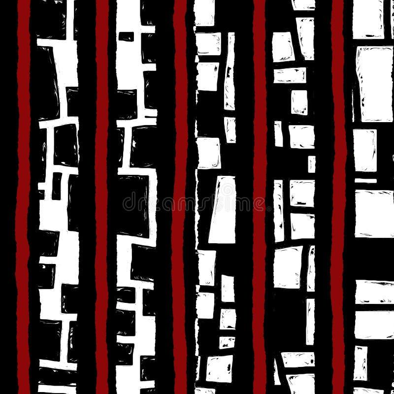 Αφηρημένη άνευ ραφής σύσταση grunge, μαύρο άσπρο και κόκκινο σχέδιο απεικόνιση αποθεμάτων