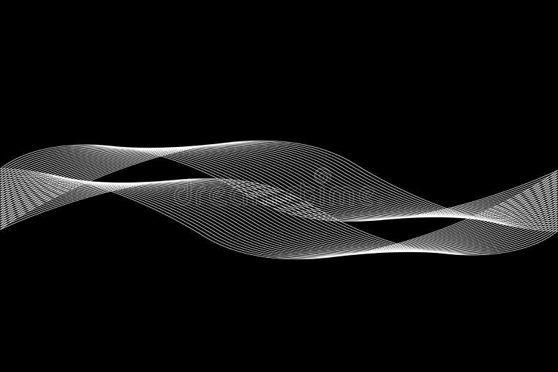 Αφηρημένη άσπρη γραμμή με το μαύρο υπόβαθρο θαμπάδων Σχέδιο φυλλάδιων, διανυσματική γραφική απεικόνιση προτύπων πρώτων σελίδων ελεύθερη απεικόνιση δικαιώματος